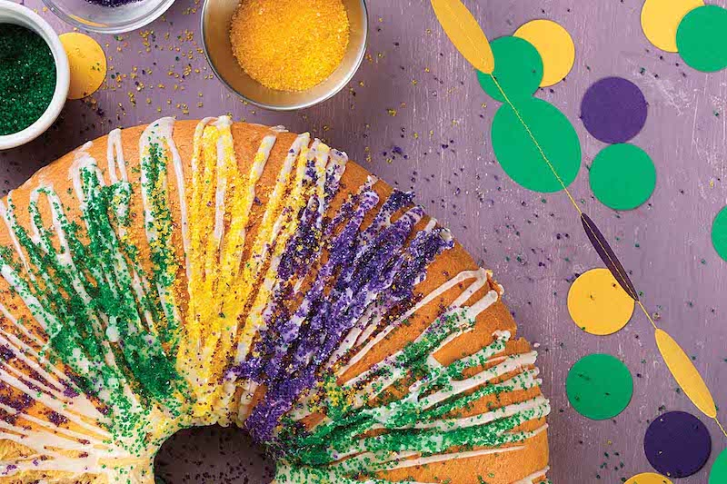 Delicious and Beautiful Mardi Gras King Cake made with King Arthur Unbleached All-Purpose Flour
